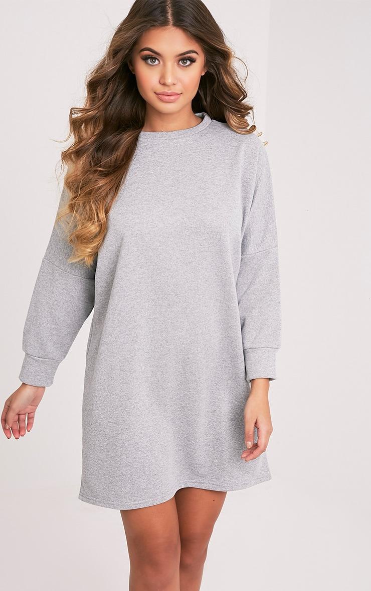 Laine robe pull surdimensionnée grise 1