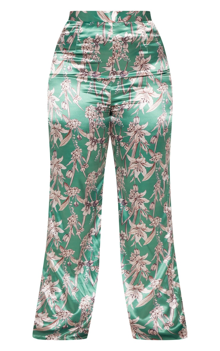 Plus Green Satin Floral Wide Leg Trouser 3