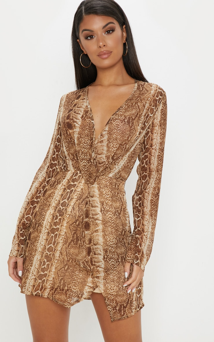 Brown Snake Print Satin Long Sleeve Wrap Dress