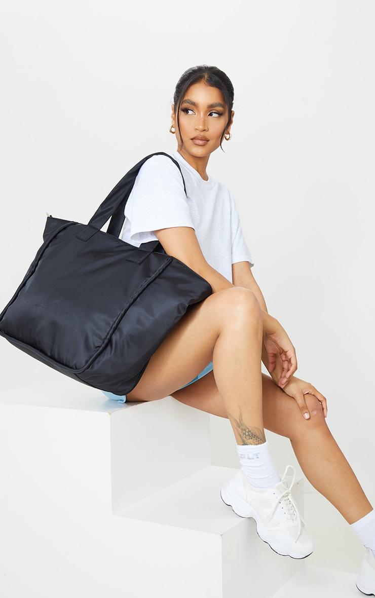 Black Oversized Nylon Tote Bag 1