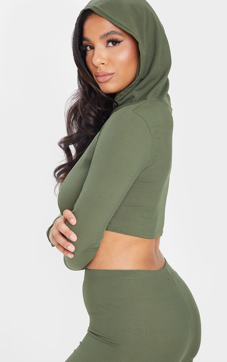 Khaki Rib Crop Long Sleeved Hoodie 4