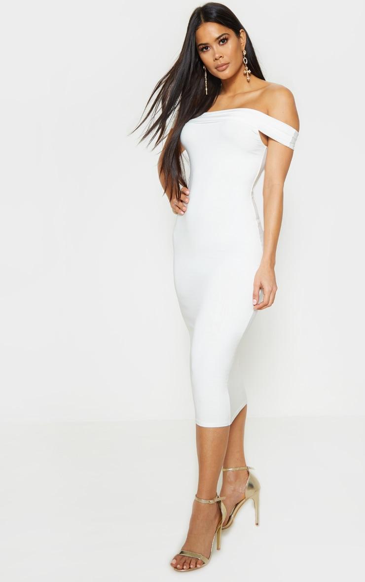 Cream Slinky Bardot Midi Dress 1