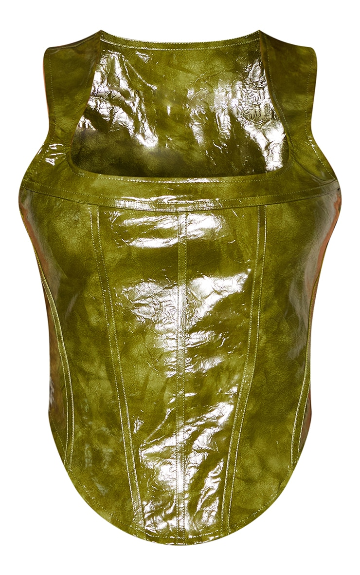 Olive Washed Faux Leather Square Neck Dip Hem Corset 5