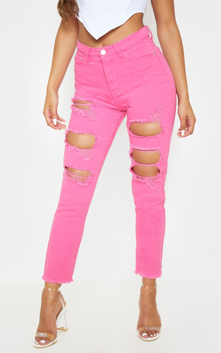 Bright Pink Extreme Distressed Mom Jeans 2