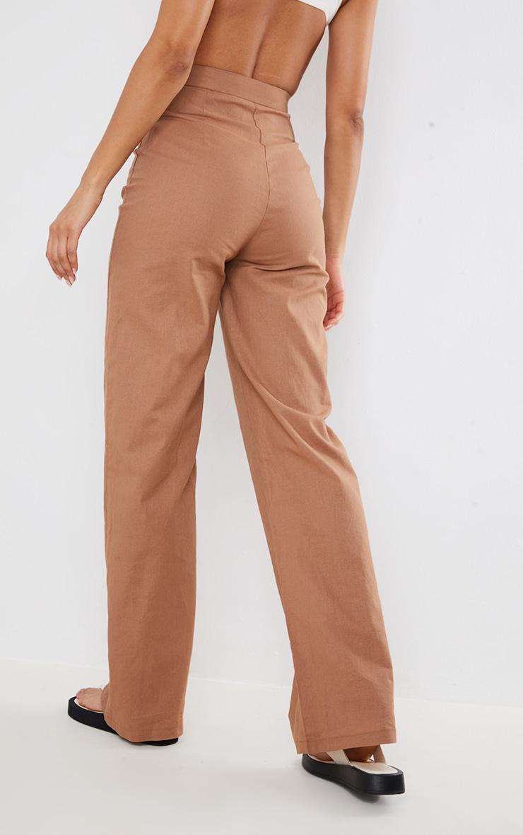 Mocha Linen Feel Wide Leg Pleated Trousers 3