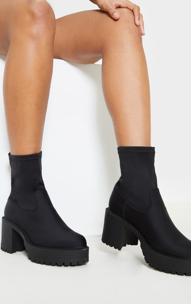 Black Lycra Chunky Sock Boot  2