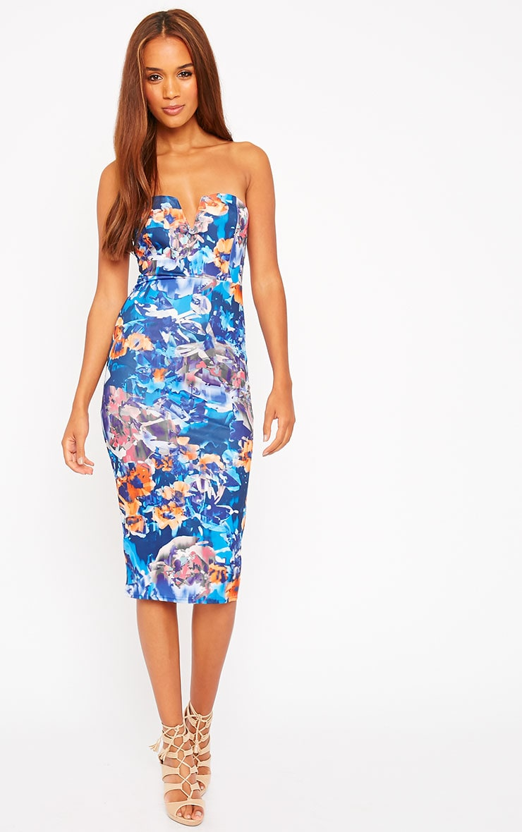 Zenda Floral Bandeau Midi Dress 1