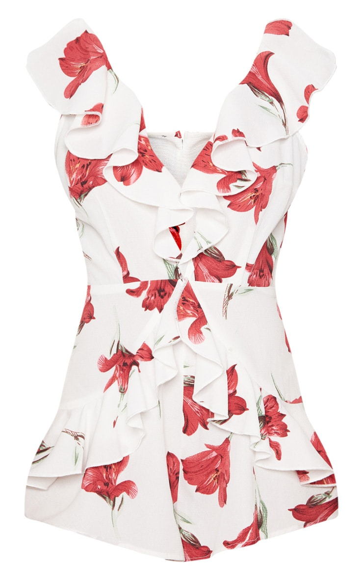 White Floral Frill Playsuit 3