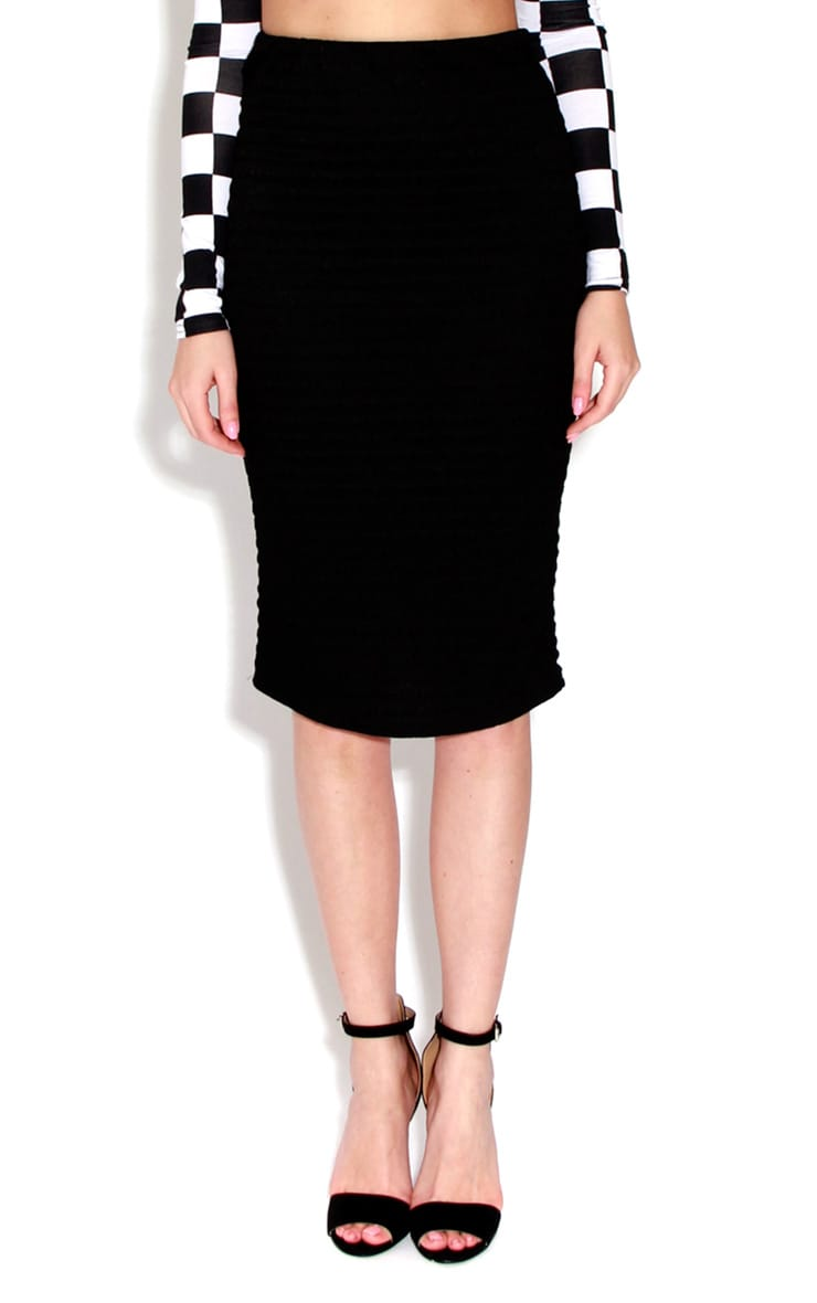 Keeley Black Ribbed Midi Skirt 1