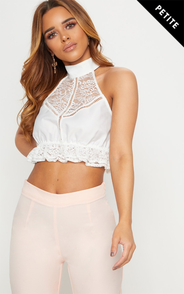 Petite White High Neck Lace Crop Top 1