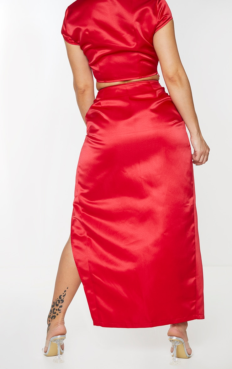 Shape Red Structured Satin Split Detail Midaxi Skirt 3