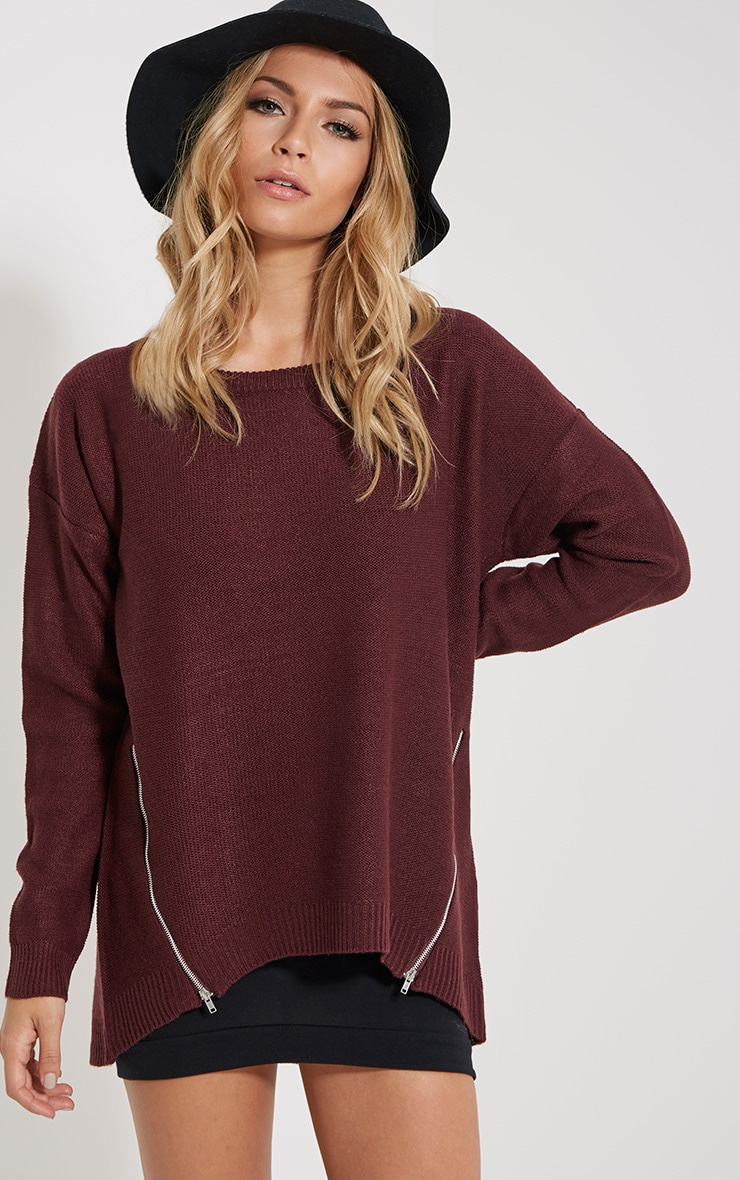 Zari Burgundy Zip Detail Jumper 1