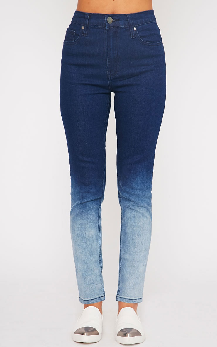 Bonnie Blue Mid Rise Ombre Skinny Jean 2