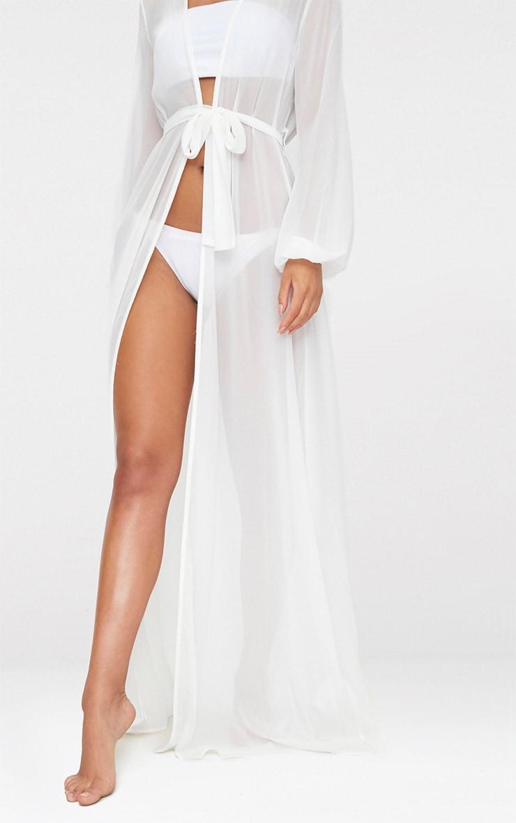 Alice kimono de plage maxi blanc à ceinture 4