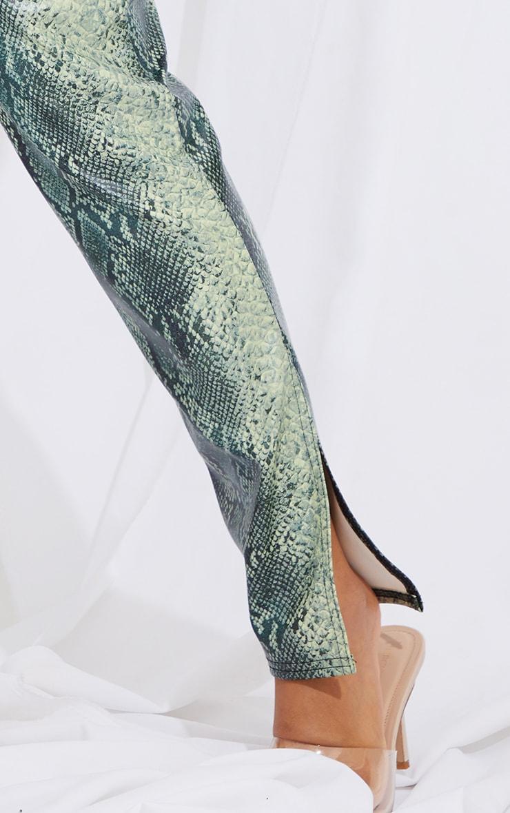 Petite Green Snake Print Split Hem Pants 4