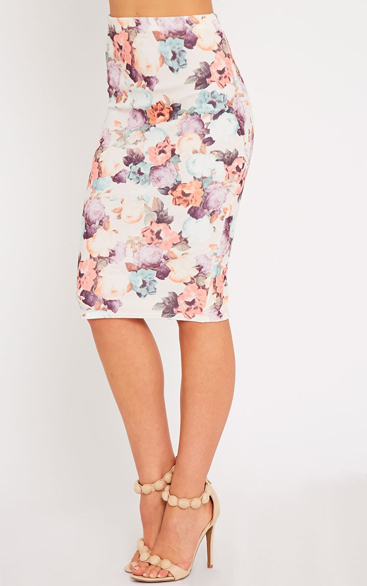 Louisa Cream Floral Print Midi Skirt 3