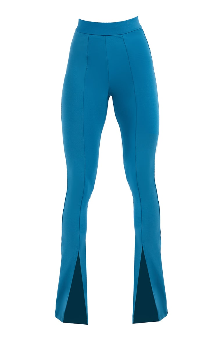 Steel Blue Stretch Scuba Skinny Split Hem Pants 5