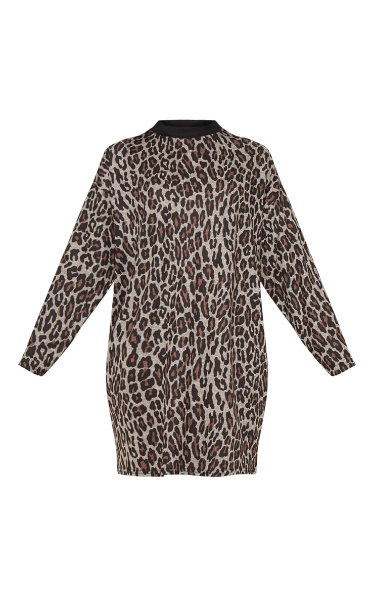 Brown Leopard Print Oversized Jumper Dress 3