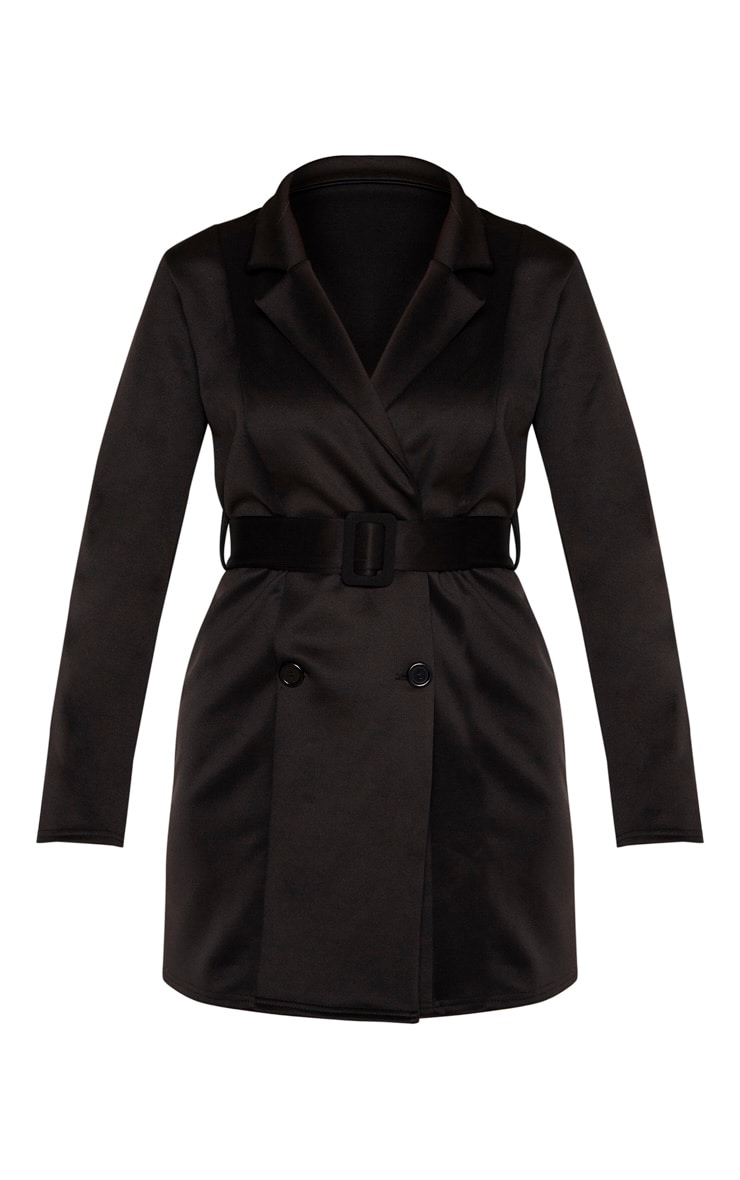 Tall Black Tailored Belt Detail Blazer Dress 3