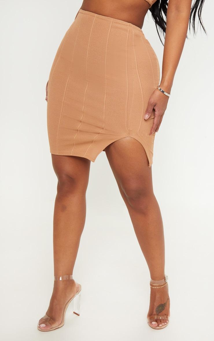 Shape Camel Bandage Bodycon Skirt 2