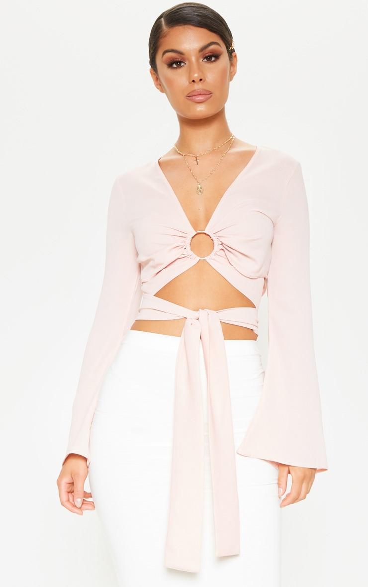 Rose Chiffon O-ring Long Sleeve Crop Blouse 1