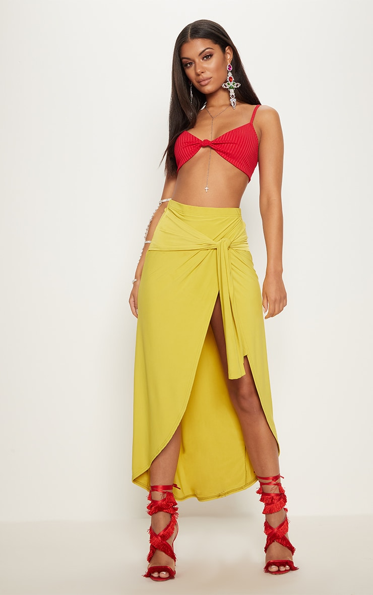 Lime Slinky Wrap Knot Front Midaxi Skirt 2