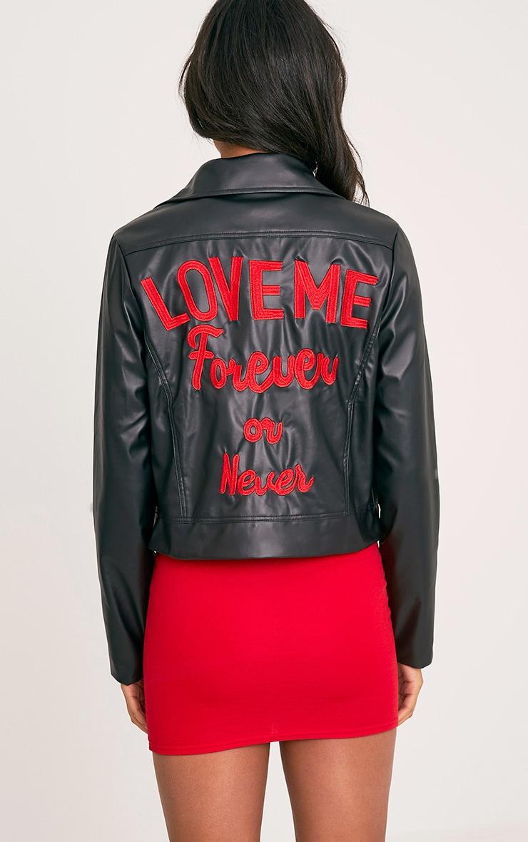 Love Me Forever Slogan PU Biker Jacket 3
