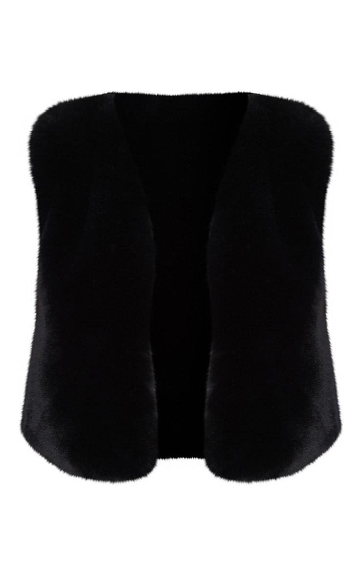Black Faux Fur Crop Gilet 3