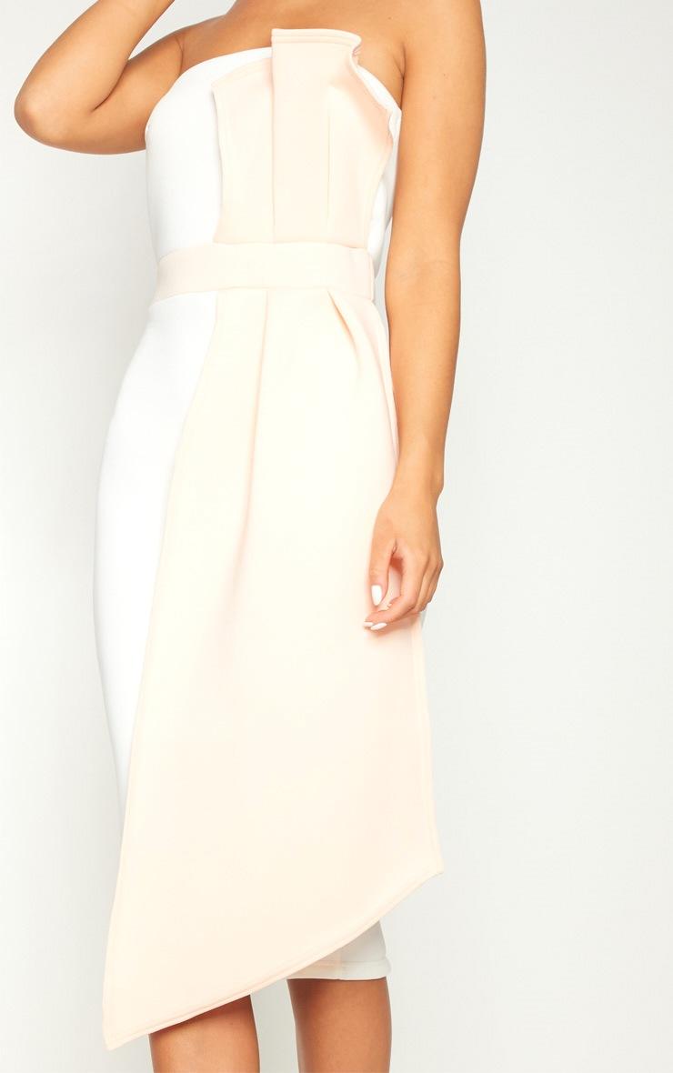 Nude Contrast Pleated Detail Midi Dress  5
