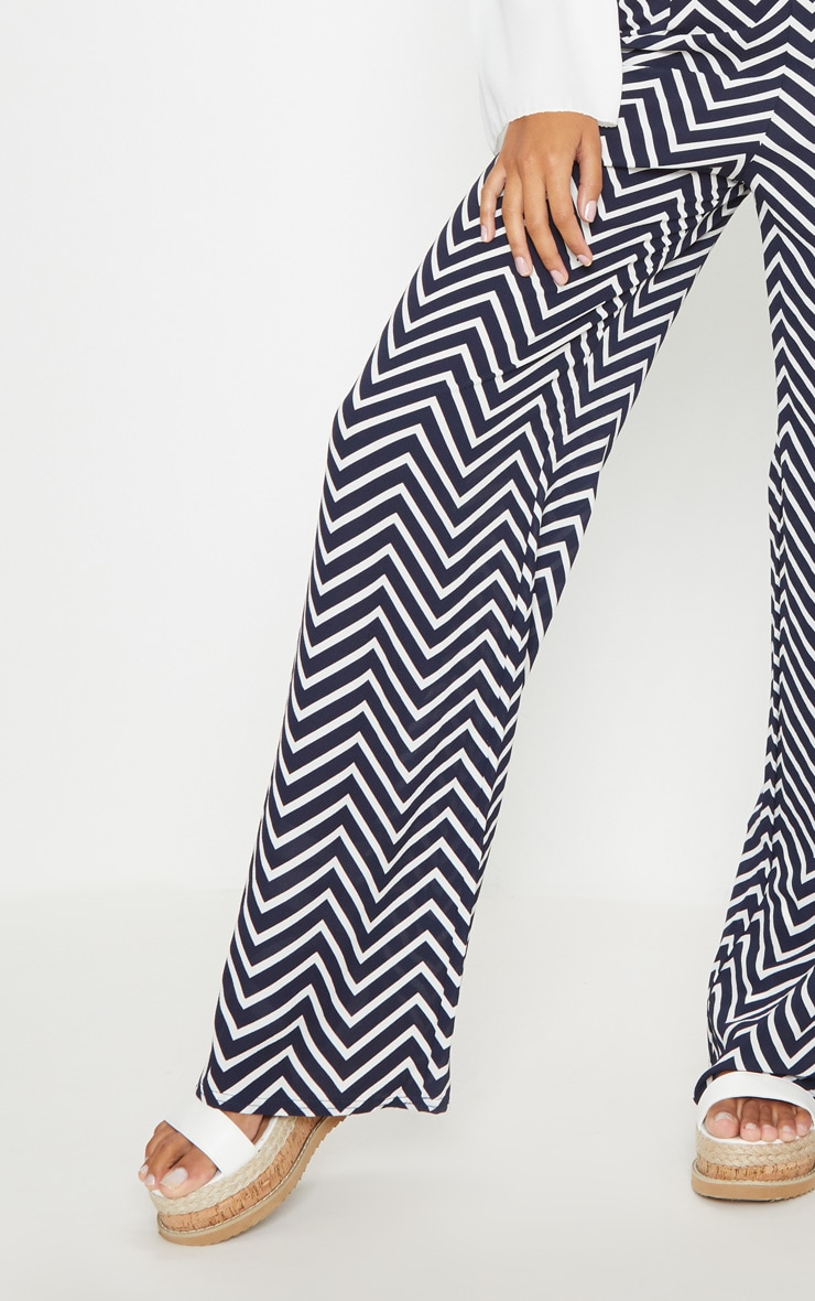 Navy Crepe Chevron Print Wide Leg Trouser 5