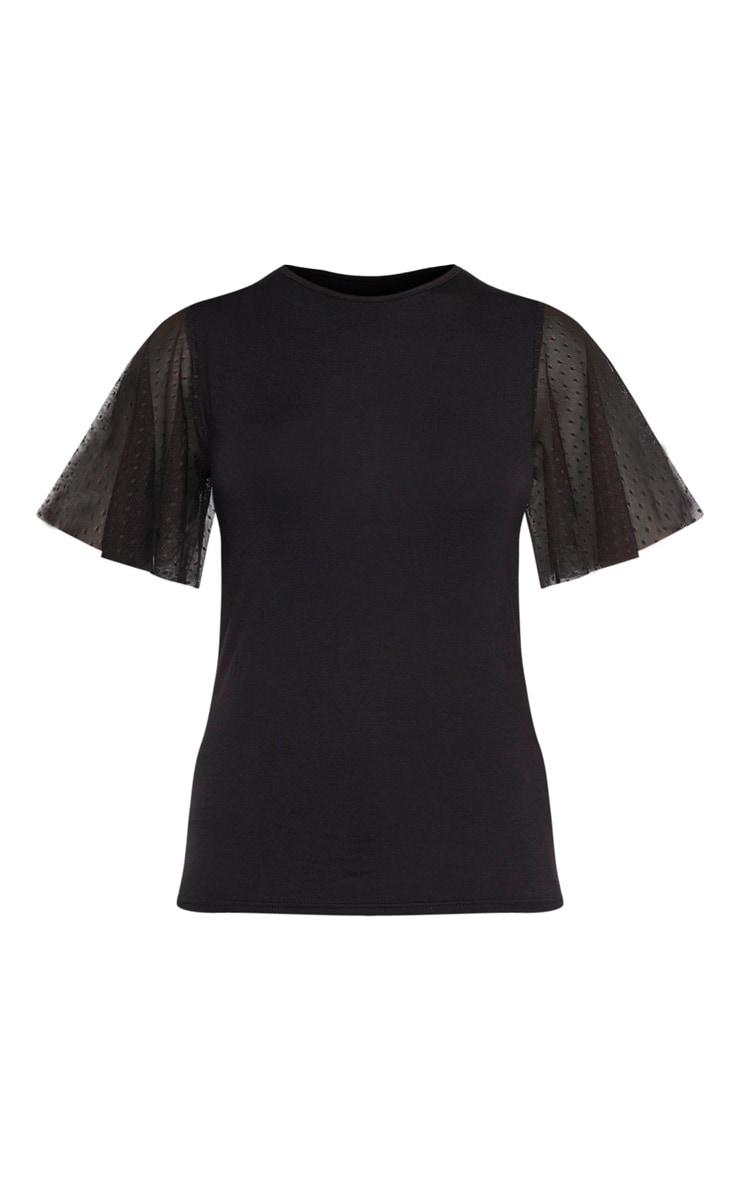 Petite - Tee-shirt noir en mesh à pois à manches courtes 3