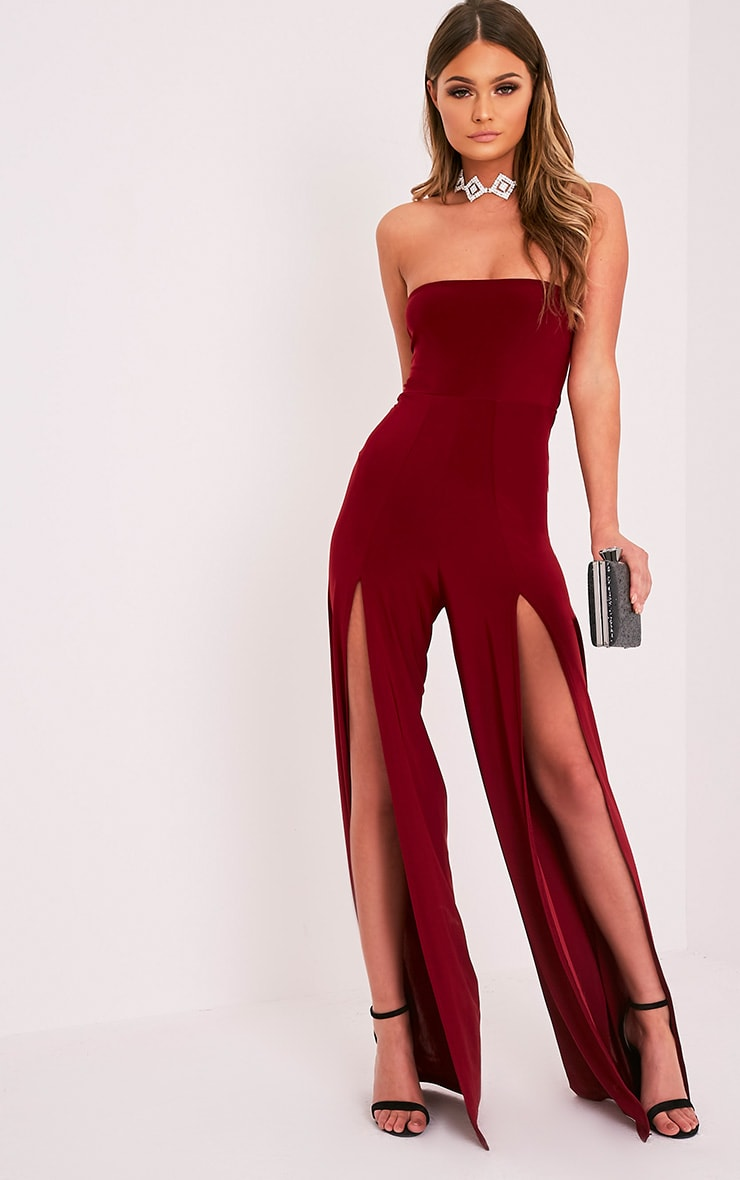 Tori Burgundy Front Thigh High Split Slinky Bandeau Jumpsuit 1