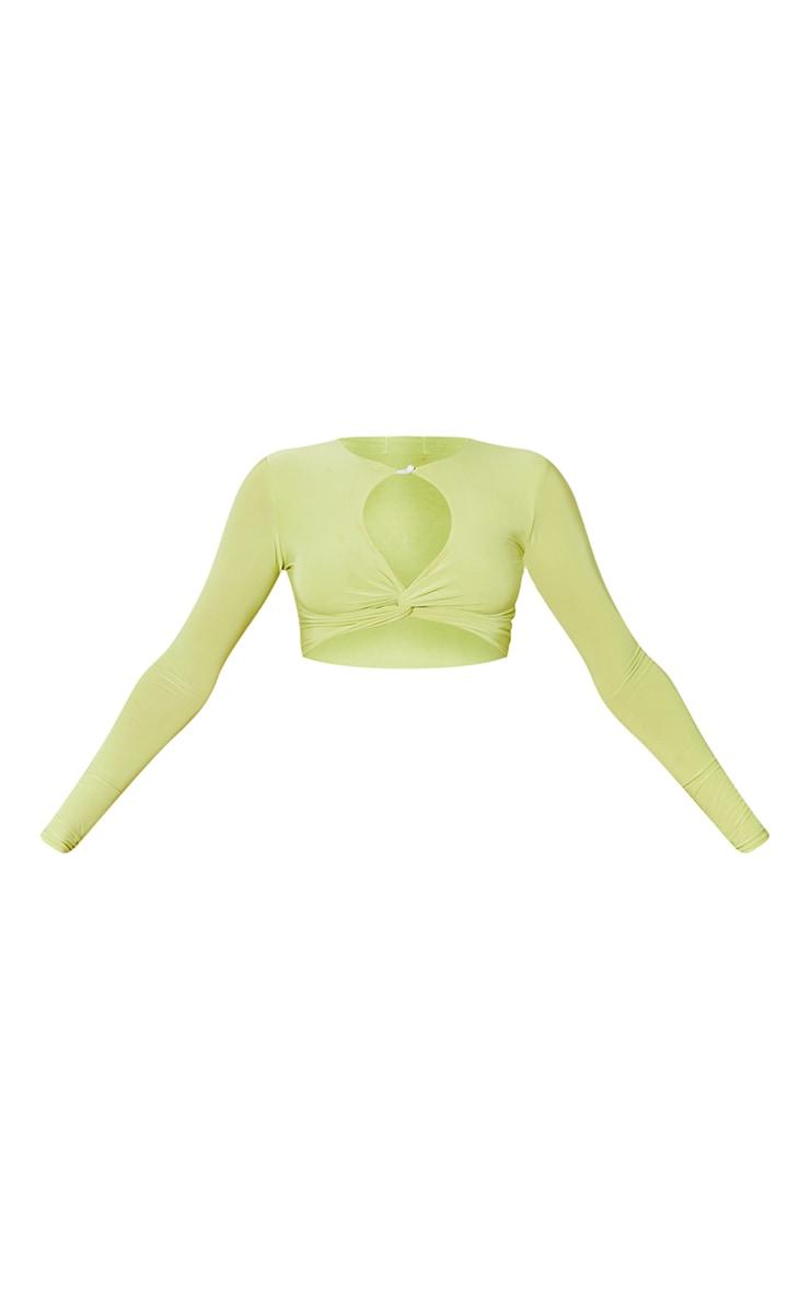 Lime  Slinky Cross Front Key Hole Long Sleeve Crop Top 5