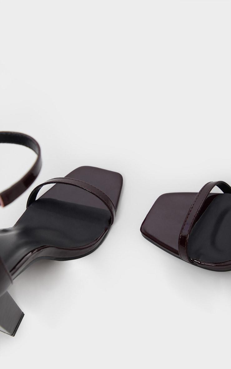 Burgundy Square Toe High Block Heel Sandal 5