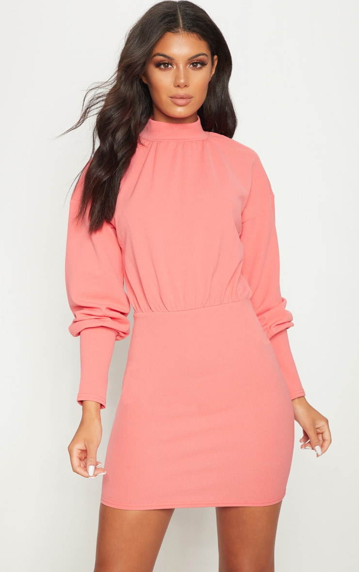 Coral High Neck Balloon Sleeve Bodycon Dress 1