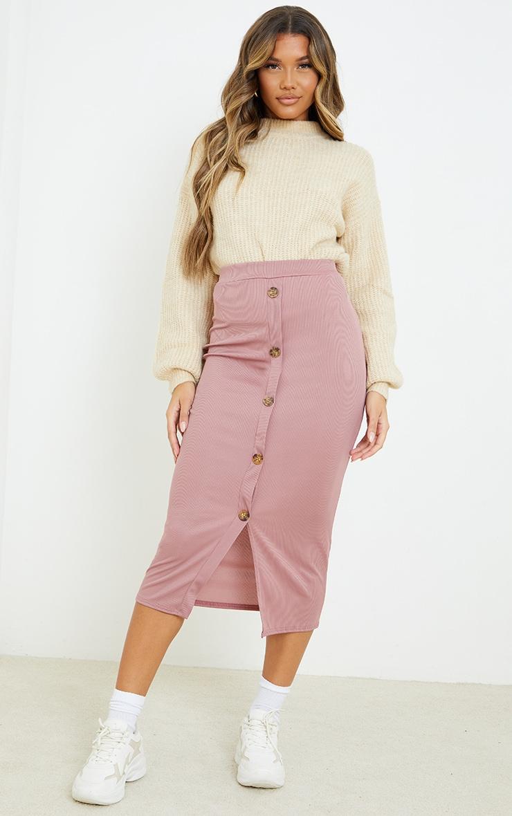 Mauve Rib Button Front Midaxi Skirt 1