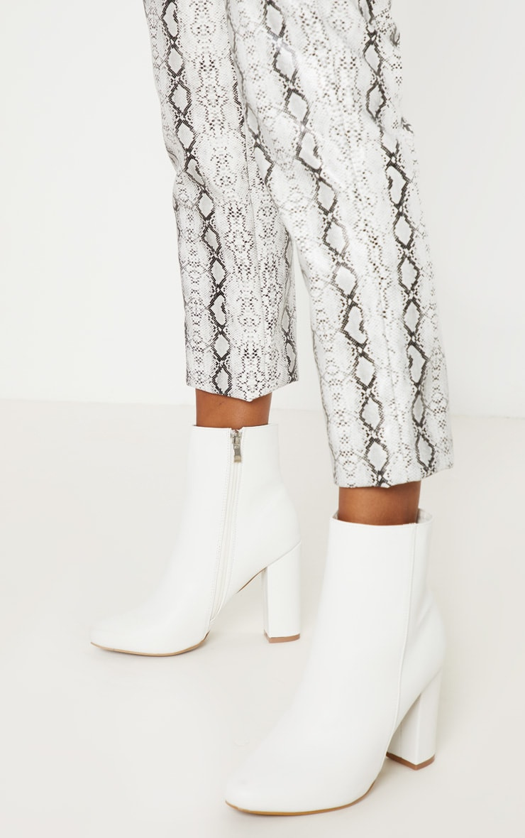 White Faux Leather Ankle Boot 2