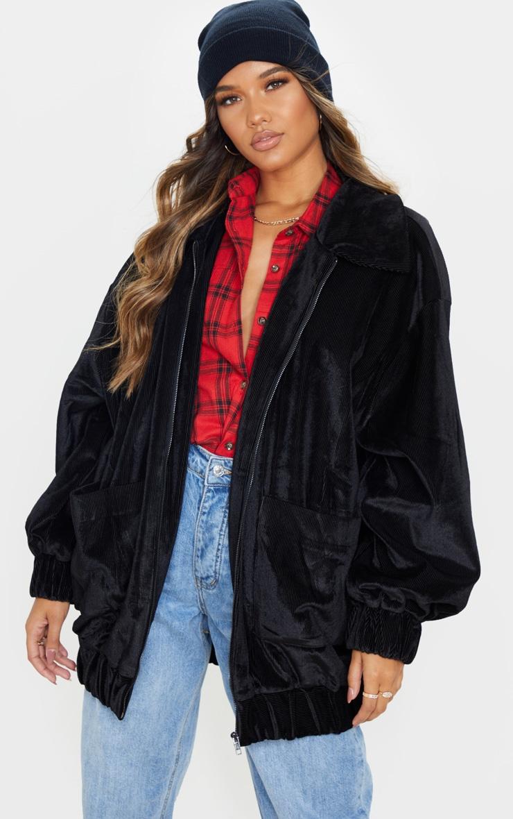 Black Cord Oversized Pocket Front Coat 1