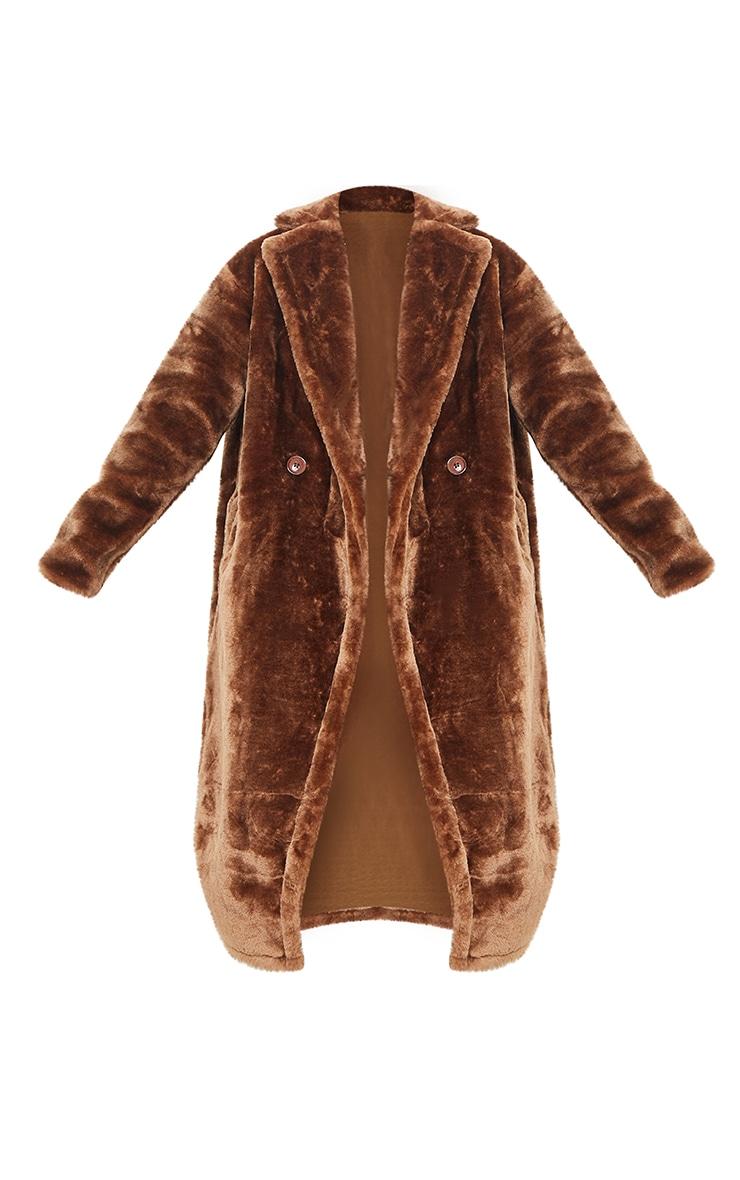 Brown Large Lapel Midaxi Faux Fur Coat 5