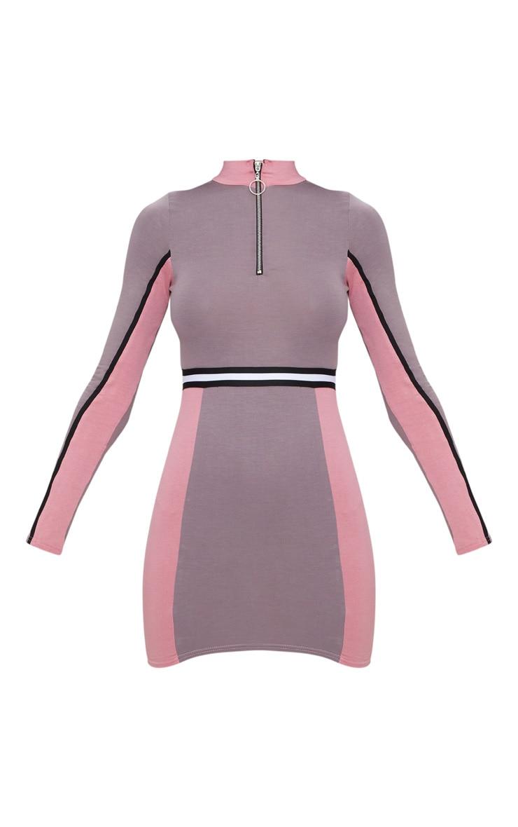 Dark Mauve Sports Stripe Zip Detail Dress 3
