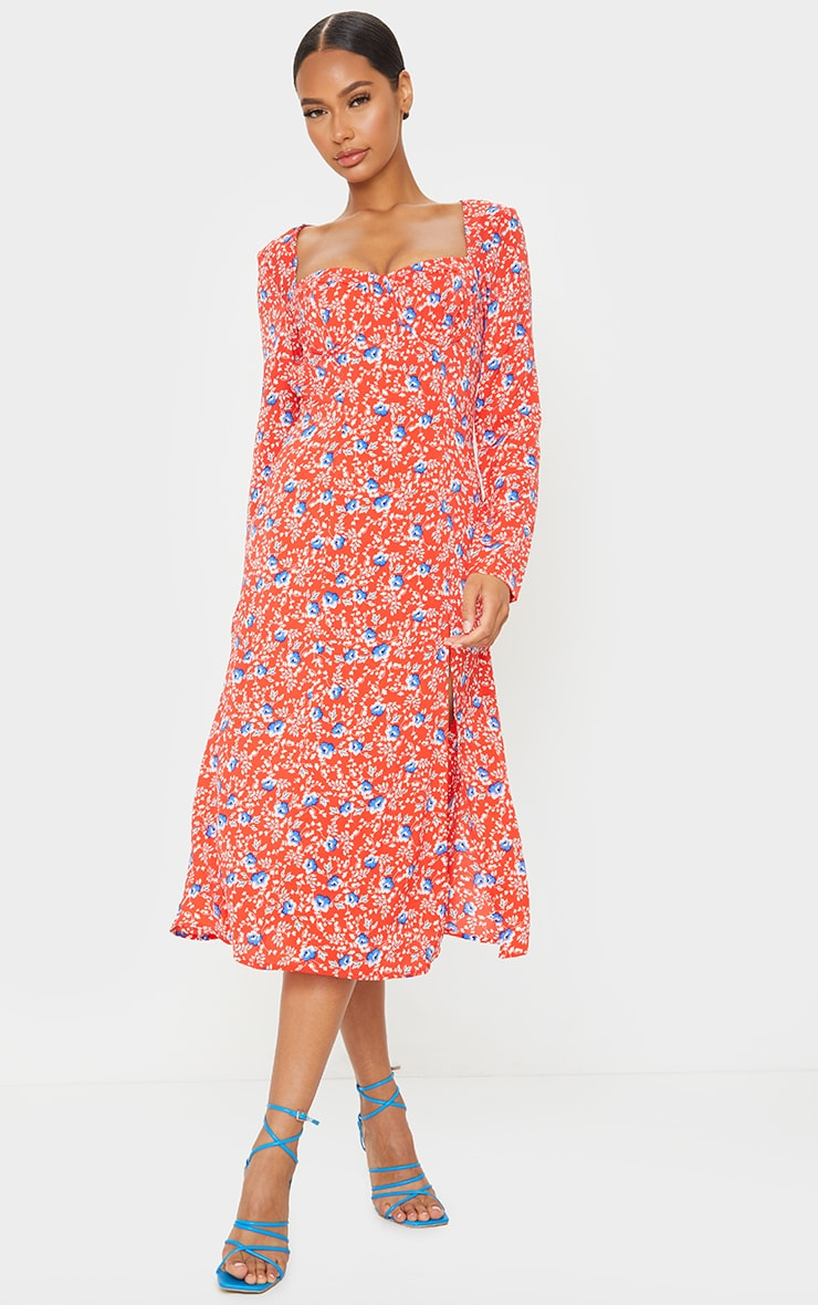 Red Floral Cup Detail Split Midi Dress 3