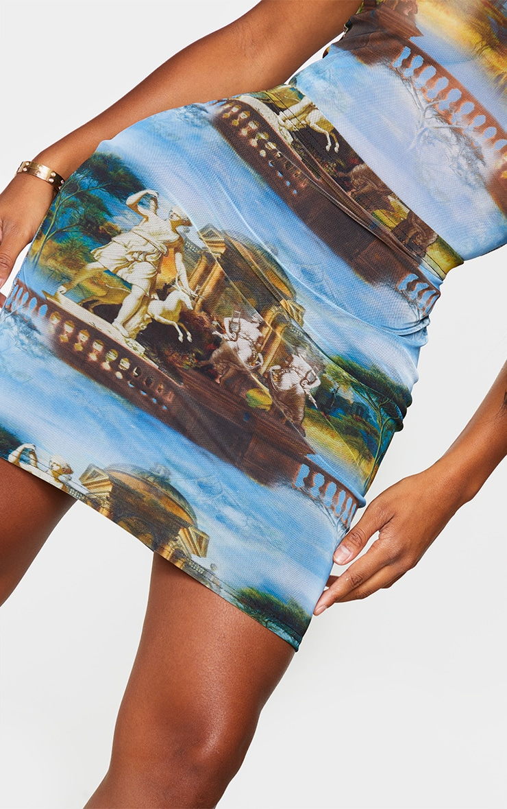 Shape Blue Renaissance Print Bodycon Skirt 5