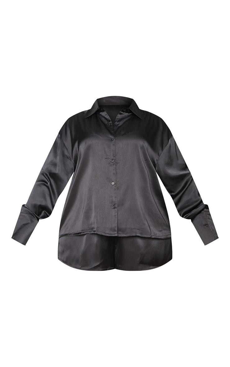 Plus Black Long Sleeve Shorts Satin PJ Set 5