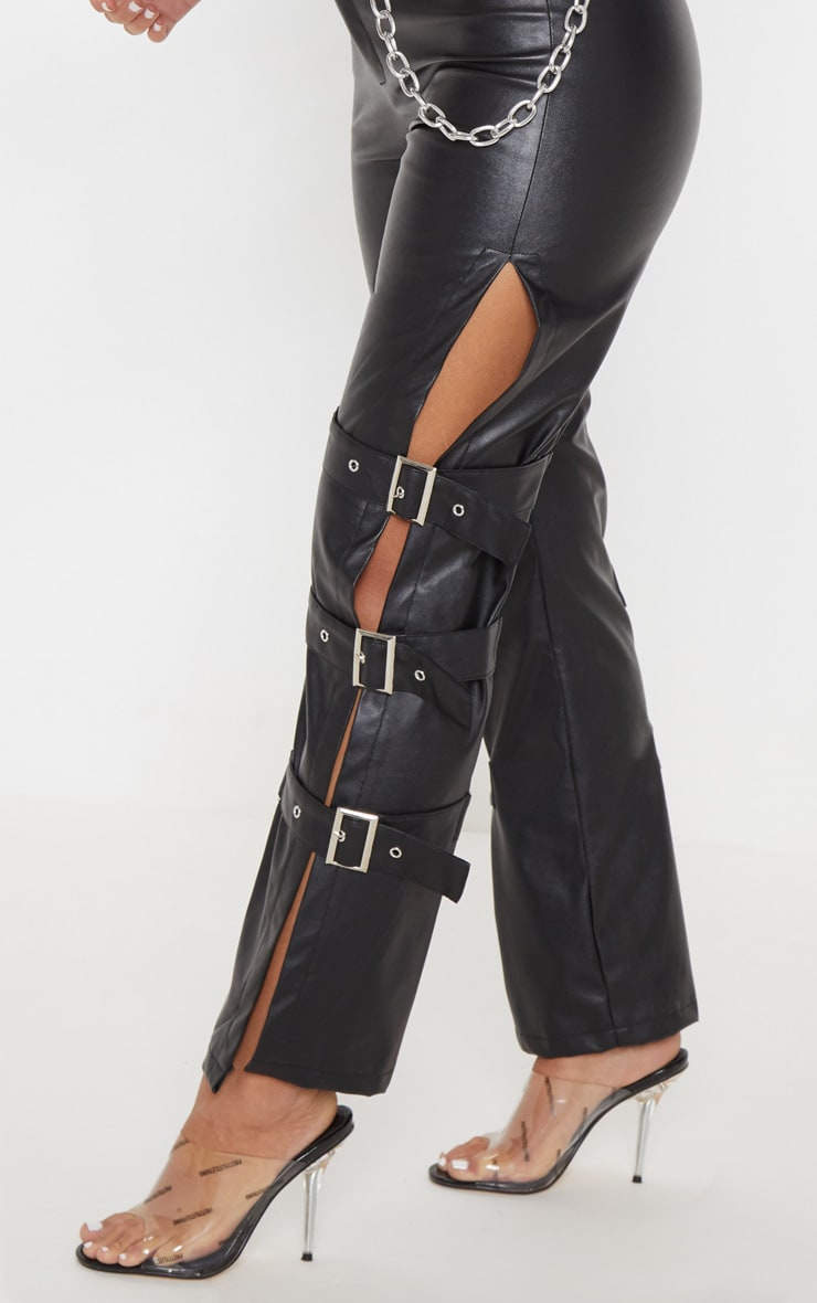 Black Faux Leather Buckle Strap Detail Trouser 5