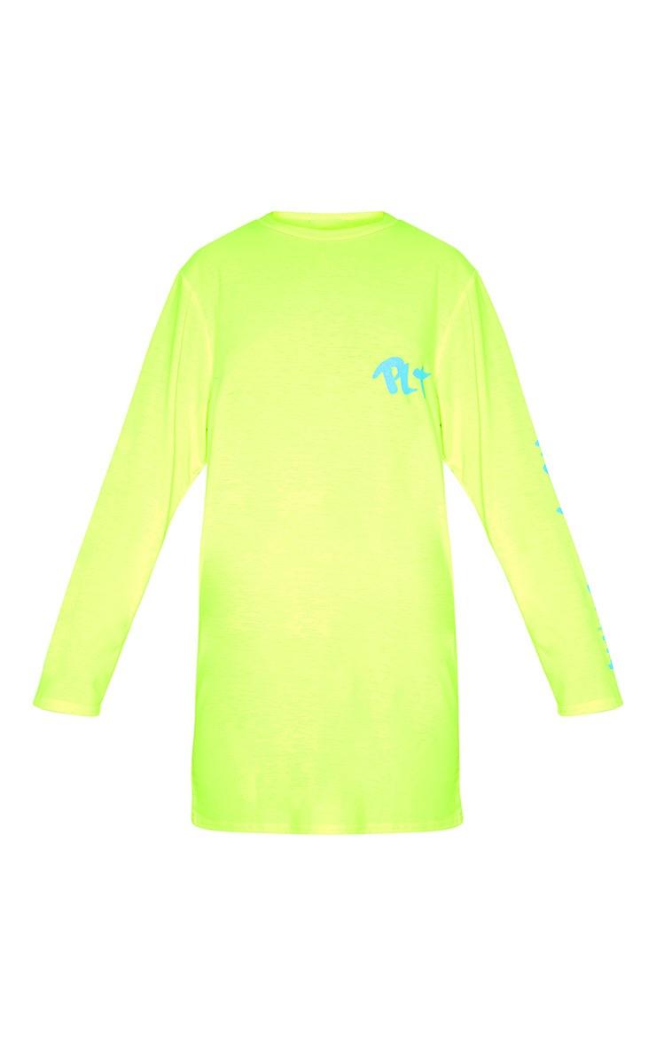PRETTYLITTLETHING Yellow Slogan Long Sleeve T Shirt Dress 3