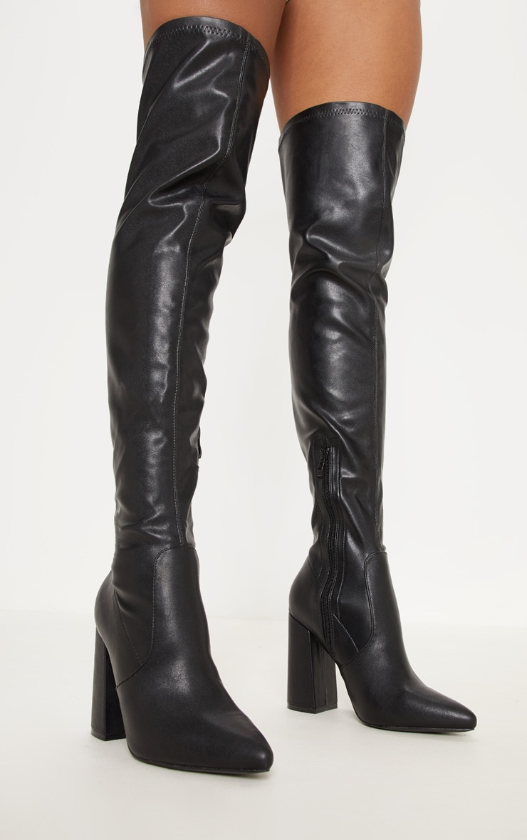 Black Block Heel PU Thigh High Boot 2