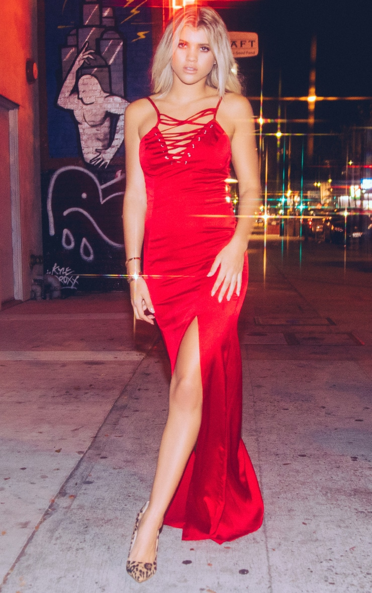Kiria Red Lace Up Satin Maxi Dress 2