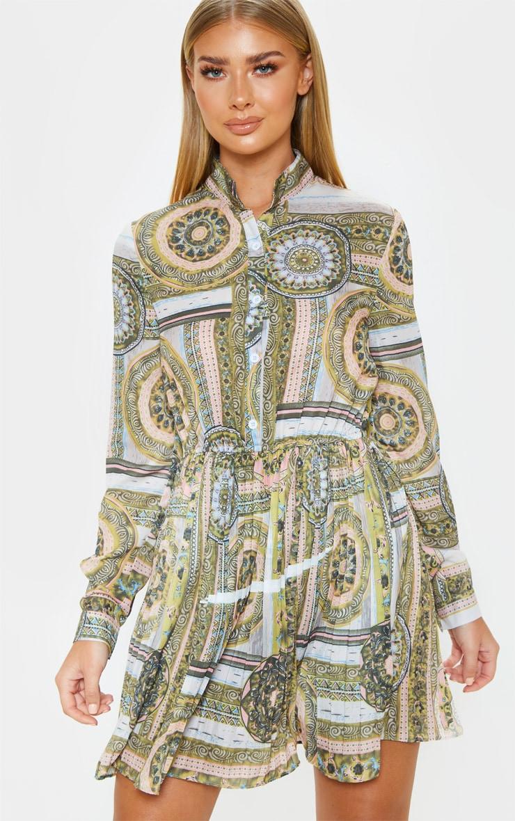 Multi Chain Print Pleated Shirt Dress 1