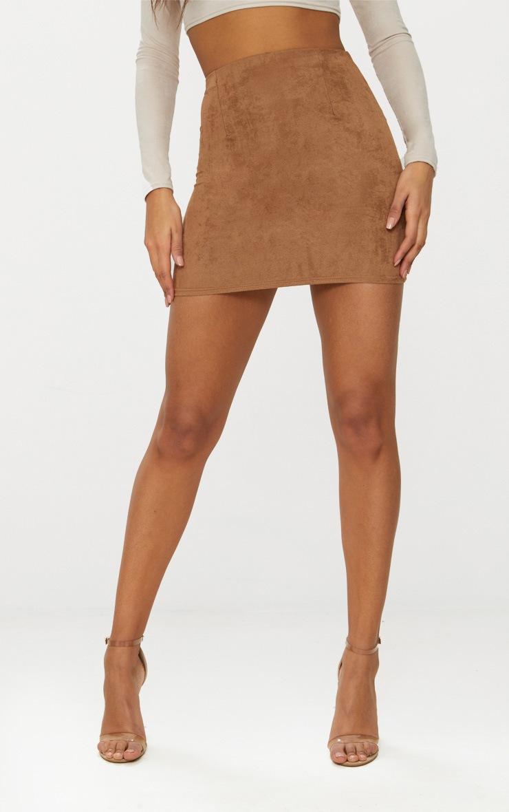 Tan Faux Suede Mini Skirt  2
