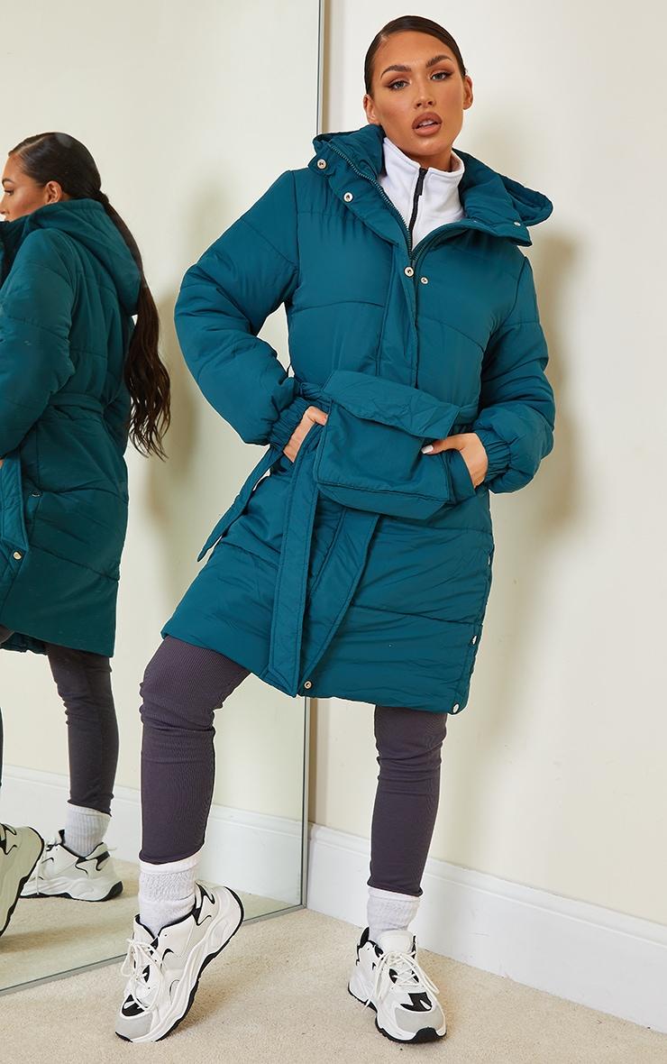Teal Nylon Fanny Pack Hooded Panel Midi Puffer Jacket 1